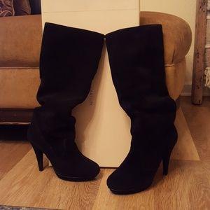 BCBG Black Crosta suede boot